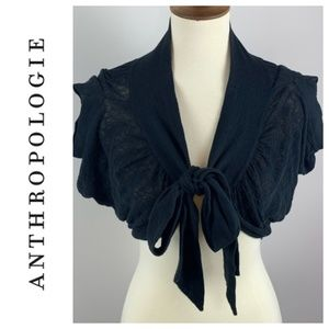 Anthropologie Moth Black Tie Front Shawl Small